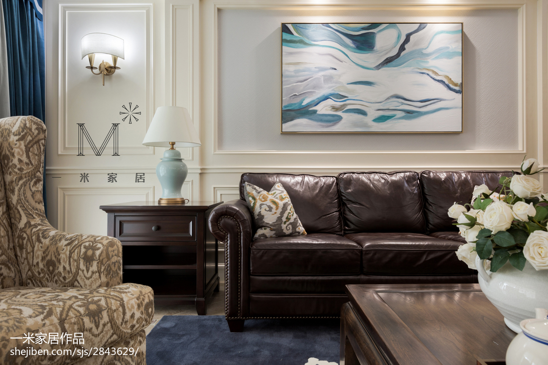 精致177平美式四居客厅装潢图四居及以上美式经典家装装修案例效果图