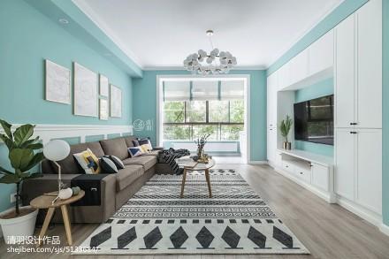 2019135平北欧三居客厅设计效果图三居北欧极简家装装修案例效果图