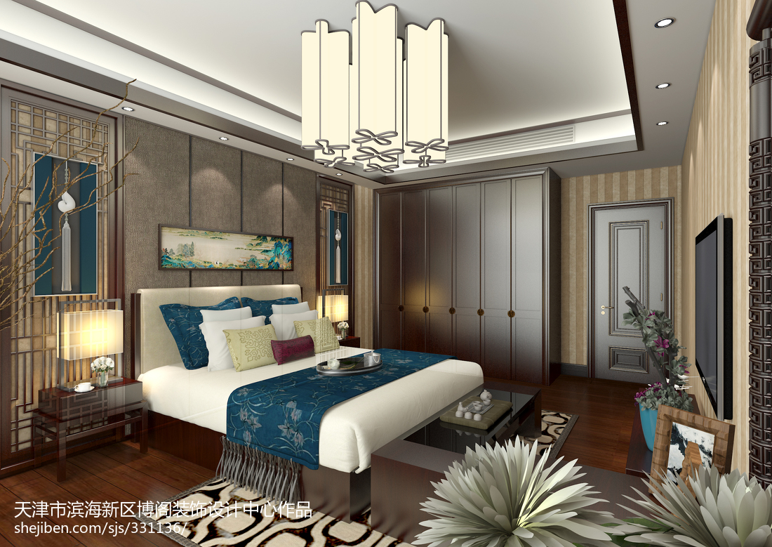 2018精选139平米中式别墅卧室欣赏图片卧室中式现代卧室设计图片赏析