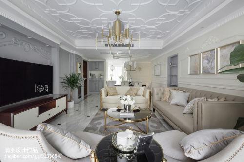 面积118平混搭四居客厅装修设计效果图片客厅窗帘151-200m²四居及以上潮流混搭家装装修案例效果图