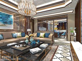 热门面积95平中式三居客厅装修设计效果图片