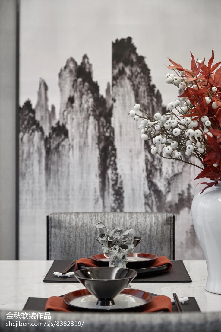 悠雅278平中式样板间餐厅实景图片厨房中式现代餐厅设计图片赏析