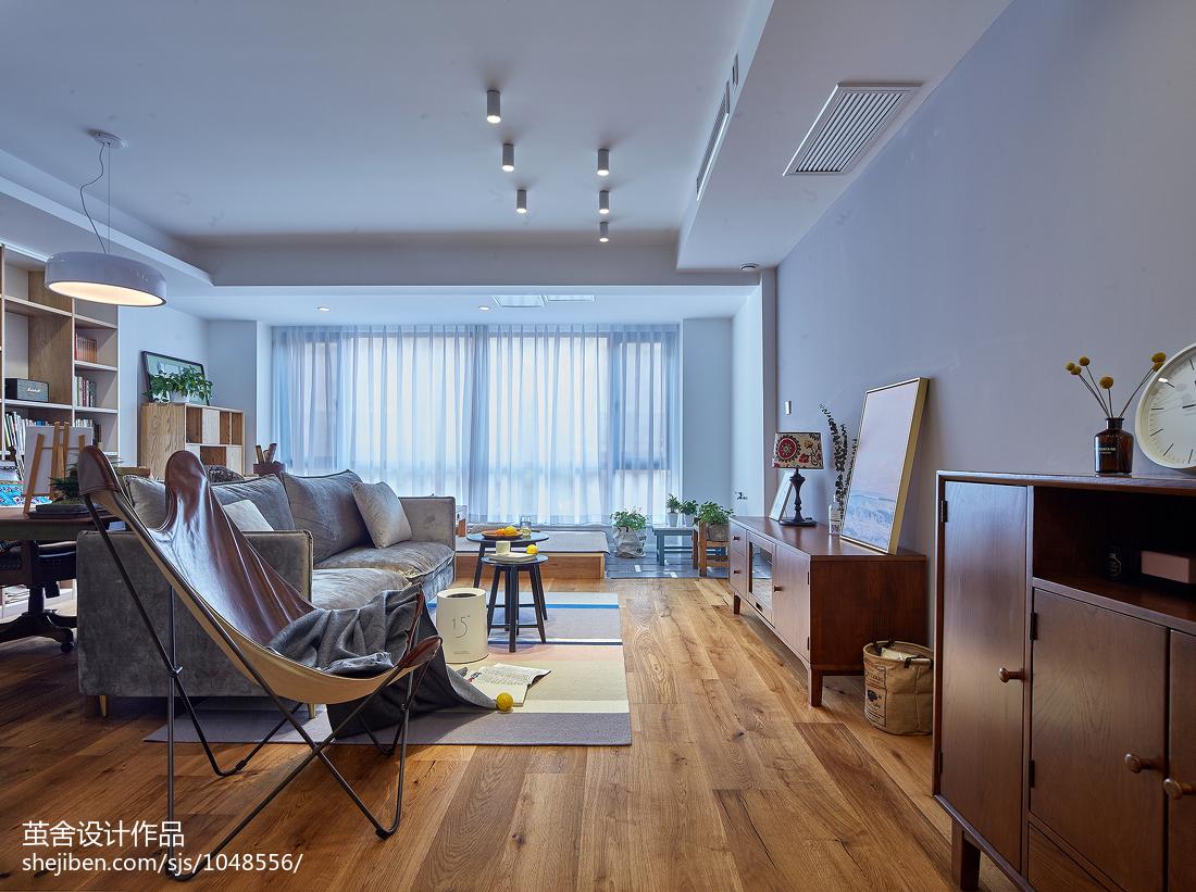 热门108平方三居客厅北欧装修设计效果图片欣赏三居北欧极简家装装修案例效果图