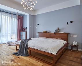 蓝色系北欧卧室设计图三居北欧极简家装装修案例效果图