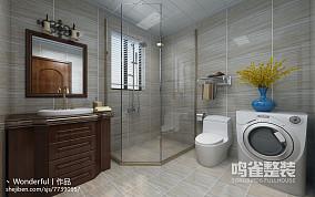 复古浴室墙纸效果图