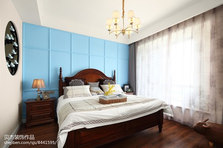 精选面积139平美式四居卧室装修实景图片卧室