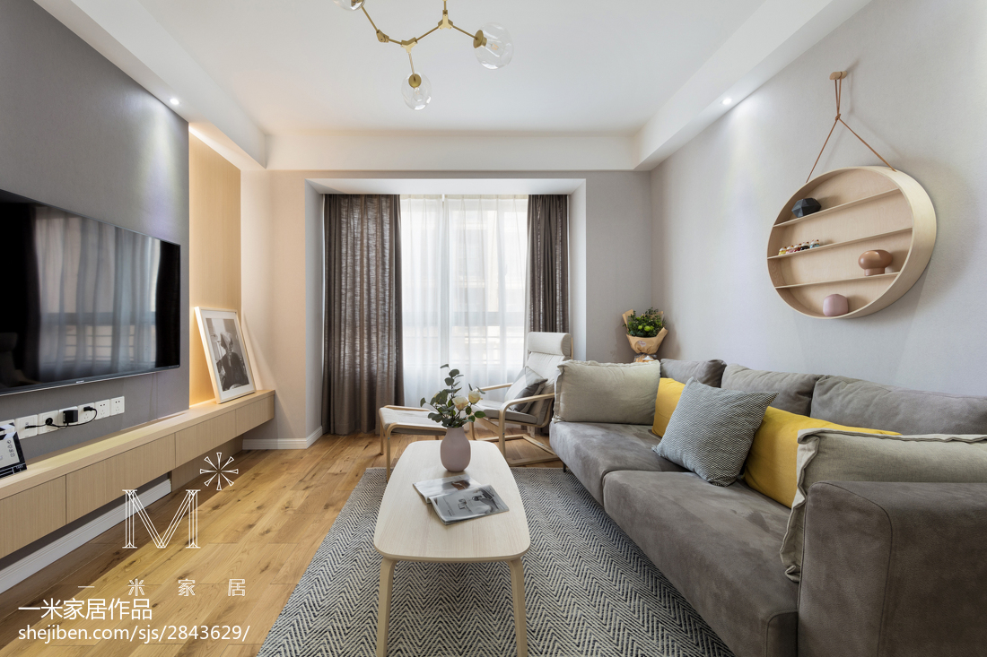 简洁120平北欧三居客厅设计美图三居北欧极简家装装修案例效果图