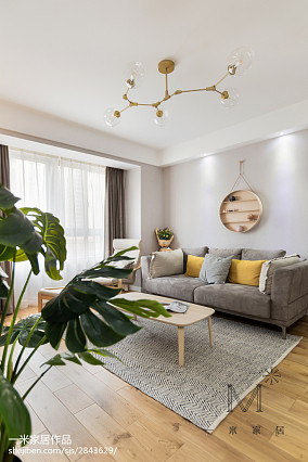 温馨89平北欧三居客厅布置图三居北欧极简家装装修案例效果图