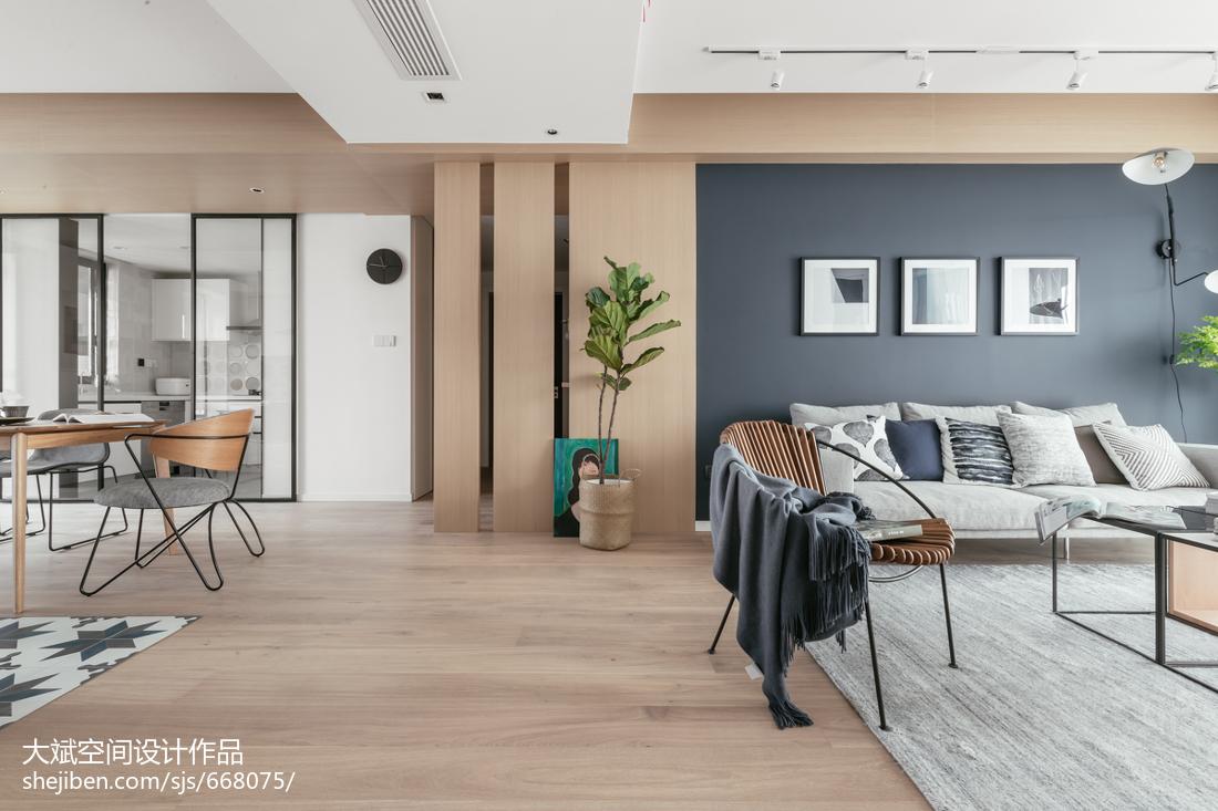 2018北欧四居客厅效果图片大全四居及以上北欧极简家装装修案例效果图