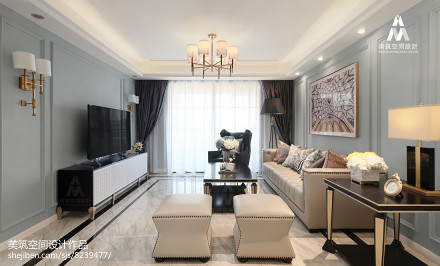 面积123平美式四居客厅装修欣赏图片客厅