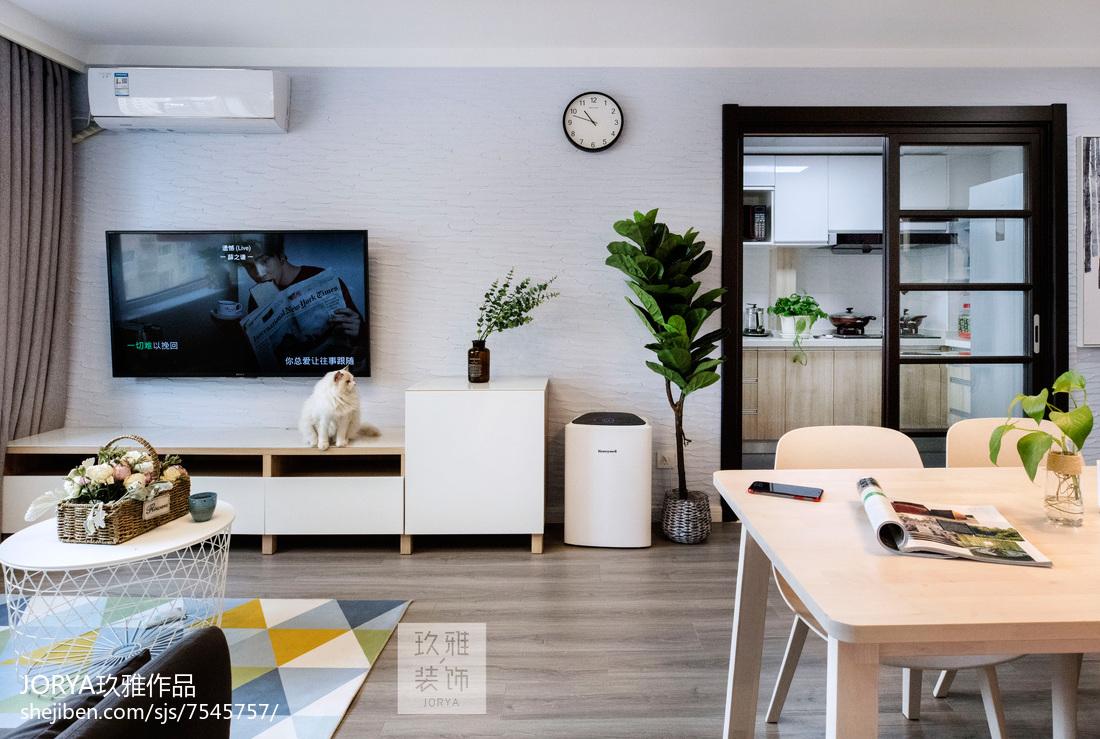 优美71平北欧二居客厅装修图二居北欧极简家装装修案例效果图