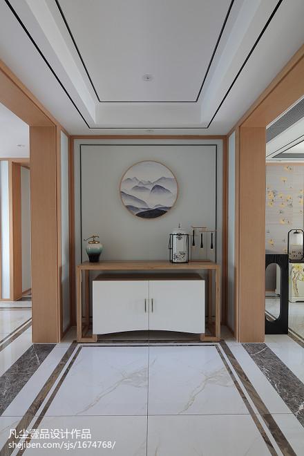 温馨145平中式三居玄关效果图欣赏三居中式现代家装装修案例效果图