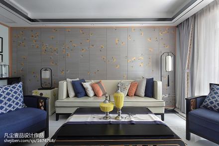 优美91平中式三居客厅实景图片