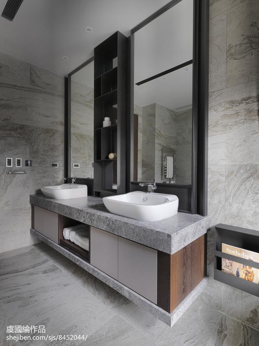 精美面积126平别墅卫生间现代装修设计效果图片卫生间洗漱台现代简约卫生间设计图片赏析