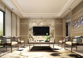 四居室中式内敛的客厅电视背景墙装修效果图大全2014图片