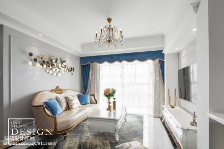 98㎡轻法式客厅吊灯设计图