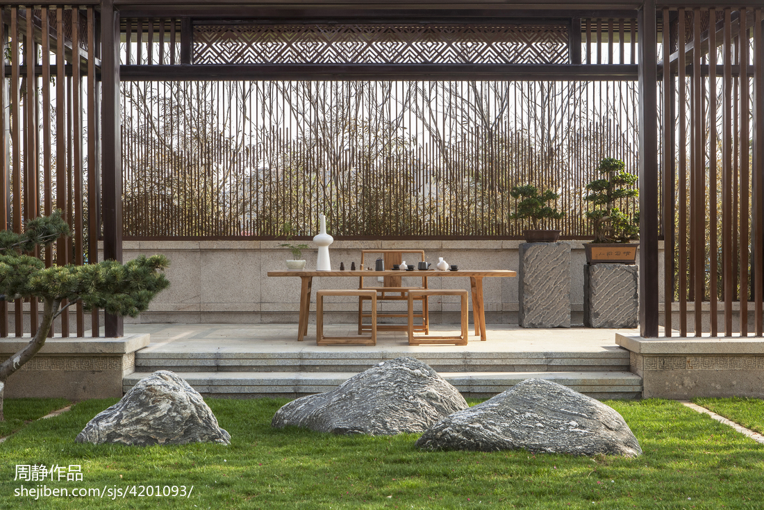 浪漫238平中式别墅花园设计效果图功能区中式现代功能区设计图片赏析