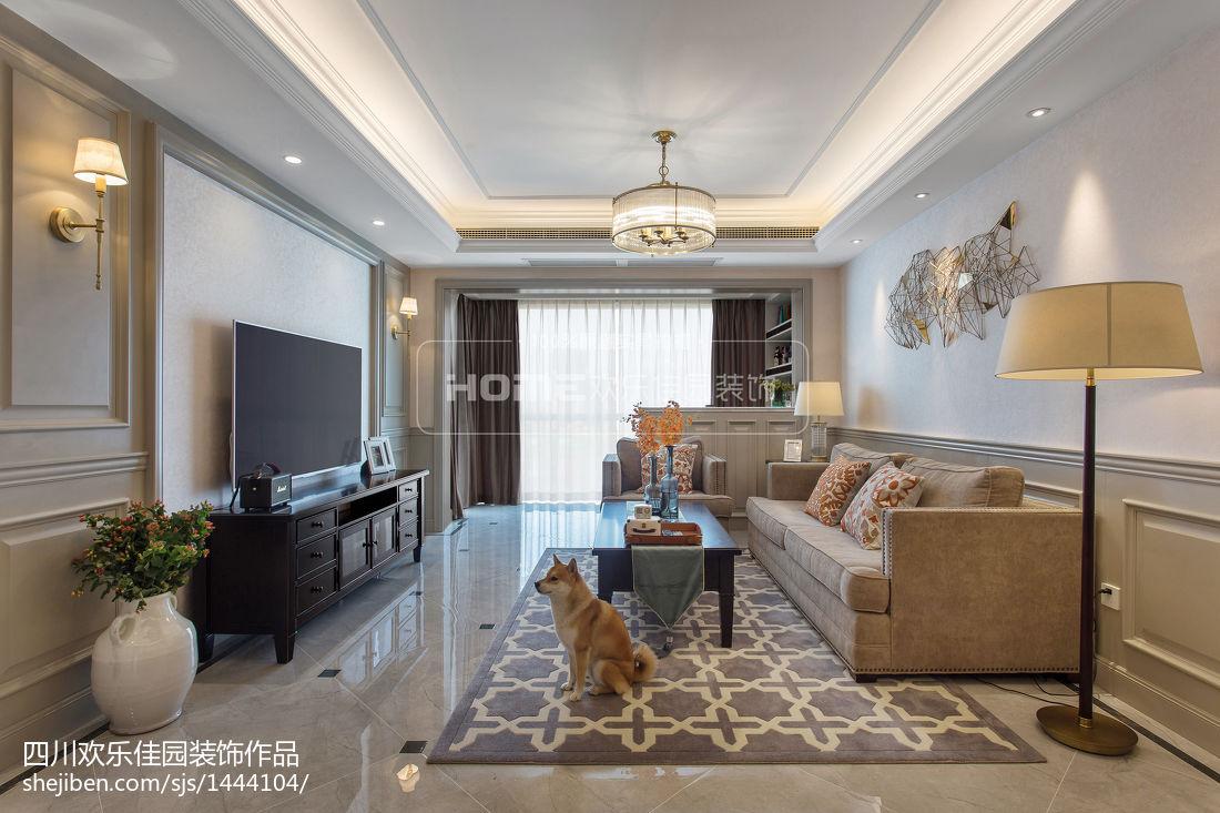 精美二居客厅美式装修设计效果图片二居美式经典家装装修案例效果图