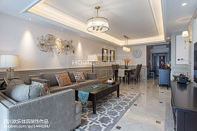 平米二居客厅美式装修效果图二居美式经典家装装修案例效果图