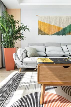 面积89平北欧二居客厅装修设计效果图片二居北欧极简家装装修案例效果图