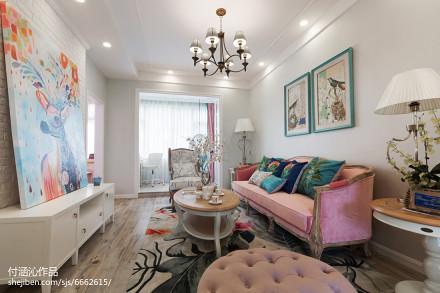 精选面积89平简欧二居客厅实景图片81-100m²二居欧式豪华家装装修案例效果图