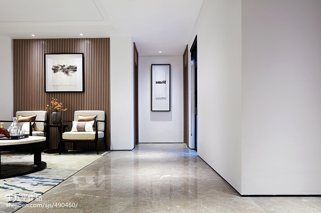 新中式别墅过道设计实景图玄关中式现代玄关设计图片赏析