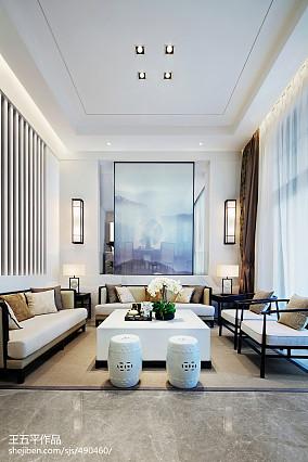 精美面积144平别墅客厅中式装修设计效果图别墅豪宅中式现代家装装修案例效果图