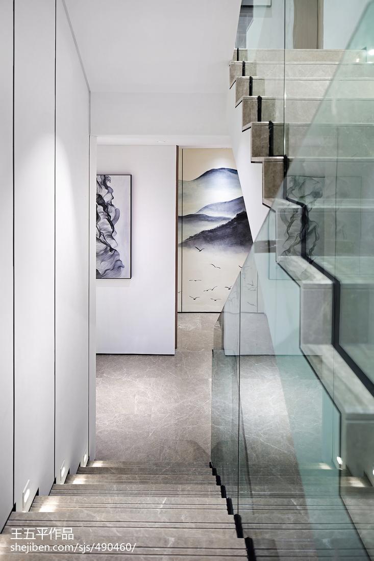 新中式别墅楼梯设计实景图玄关中式现代玄关设计图片赏析
