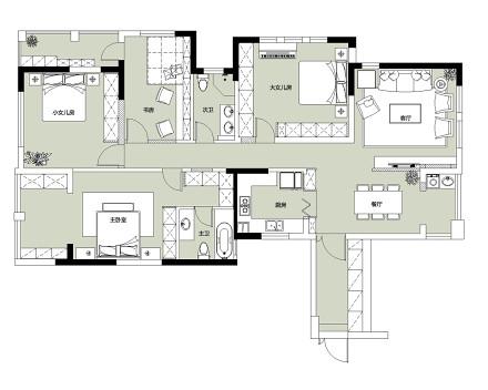 典雅114平美式四居装潢图