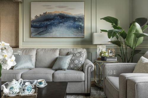 质朴163平美式四居客厅装修美图客厅沙发151-200m²四居及以上美式经典家装装修案例效果图