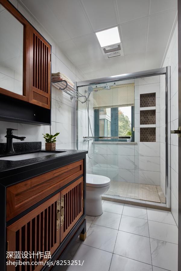 热门87平米二居卫生间中式装修图片欣赏餐厅橱柜中式现代厨房设计图片赏析