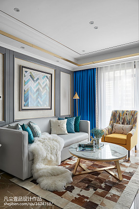 轻奢89平法式三居客厅设计案例