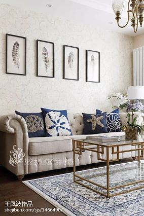 2018美式小户型客厅效果图片一居美式经典家装装修案例效果图
