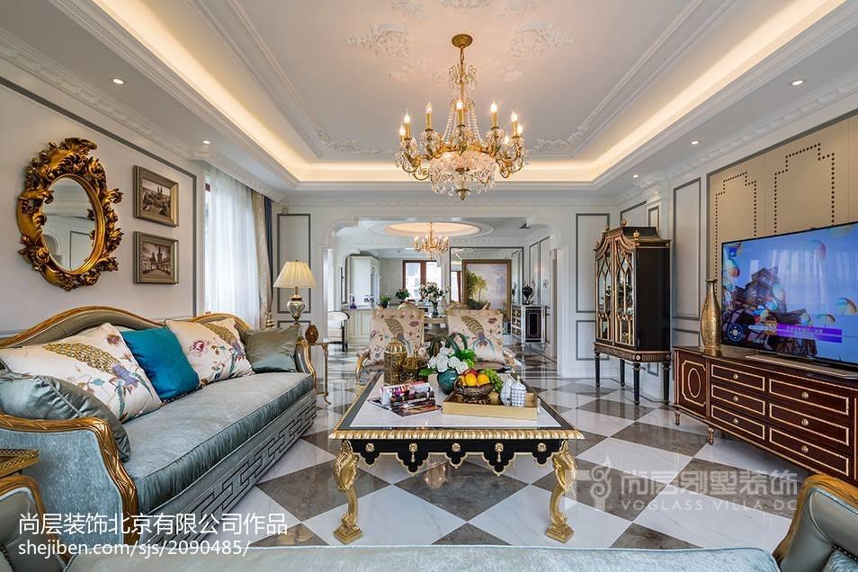 热门面积111平别墅客厅装修设计效果图片欣赏别墅豪宅欧式豪华家装装修案例效果图