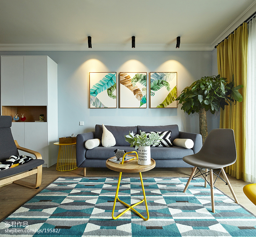 浪漫北欧客厅装饰画设计图