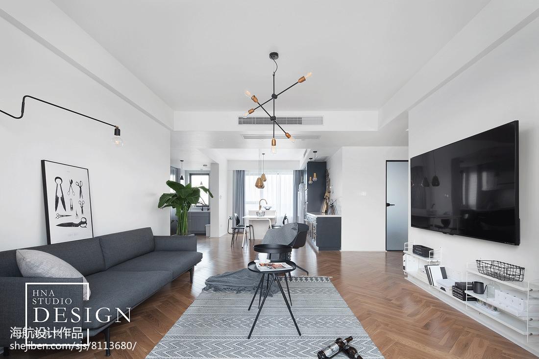 最新101平米三居客厅北欧装修实景图