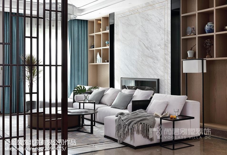 热门130平米中式别墅客厅装修图片大全别墅豪宅中式现代家装装修案例效果图
