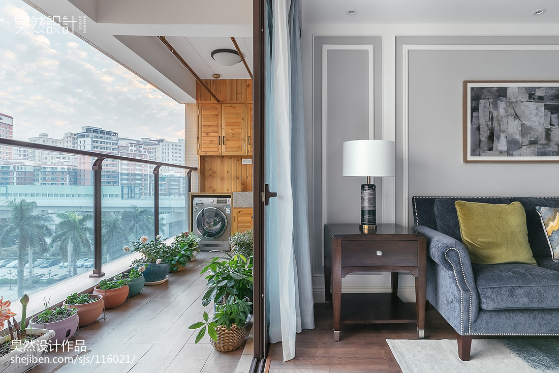 2018精选118平米四居阳台美式效果图