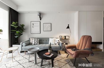 质朴104平北欧四居客厅装潢图