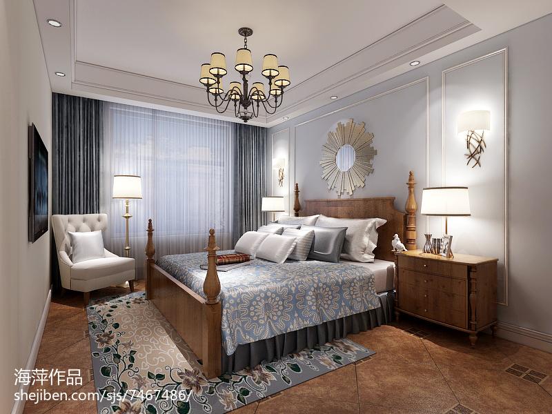 新古典风格飘窗装修卧室窗帘美式经典卧室设计图片赏析