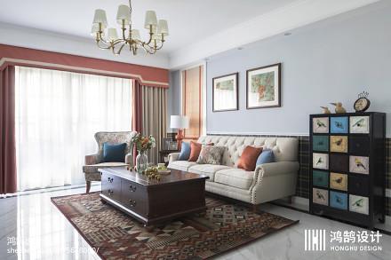 精选108平方三居客厅美式装修设计效果图三居美式经典家装装修案例效果图
