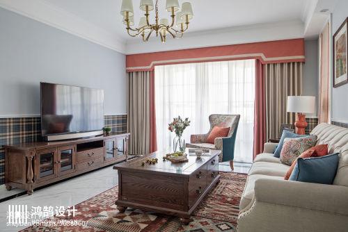2018大小104平美式三居客厅实景图片大全客厅窗帘5图