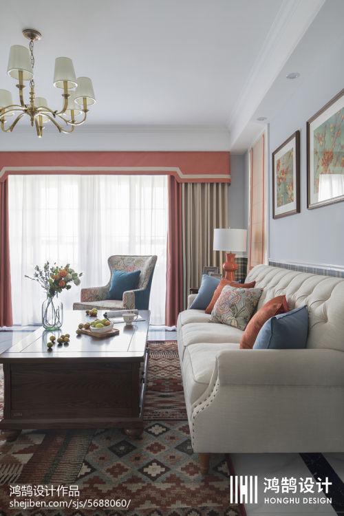 面积105平美式三居客厅装修设计效果图片客厅窗帘4图