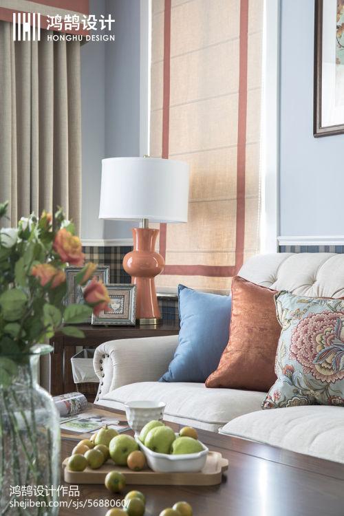 平米三居客厅美式实景图片大全客厅沙发3图