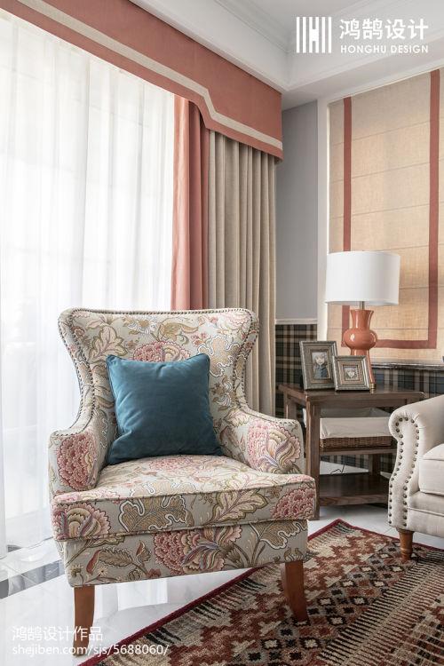 精美92平米三居客厅美式实景图客厅窗帘2图
