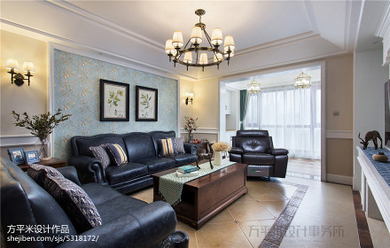 质朴168平美式四居客厅实景图片四居及以上美式经典家装装修案例效果图