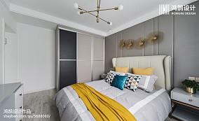2018精选面积76平现代二居卧室装修效果图二居现代简约家装装修案例效果图