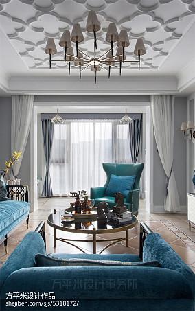 优美74平美式三居客厅效果图片大全三居美式经典家装装修案例效果图