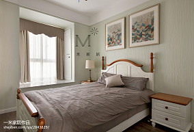 精美90平米二居卧室美式装修欣赏图片大全二居美式经典家装装修案例效果图