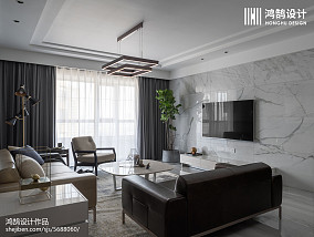 160平现代大理石背景墙设计图三居现代简约家装装修案例效果图